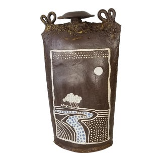 Mid-Century Handmade Sculptural Bottle Shape Art Pottery . For Sale