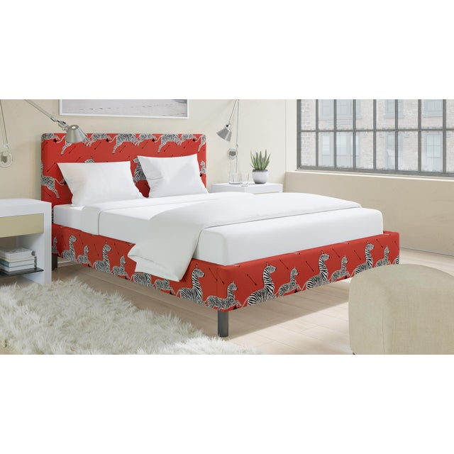 The Inside Queen Tailored Platform Bed in Coral Zebra By Scalamandre For Sale - Image 4 of 6