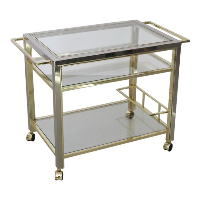Bar Cart in Chrome and Brass attributed to Willy Rizzo For Sale