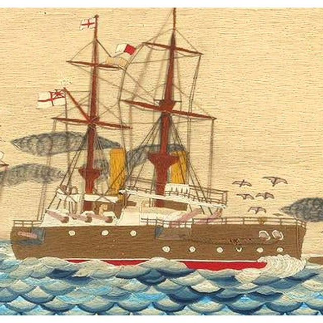 Late 19th Century Large British Sailor's Woolwork of Fleet, Circa 1890 For Sale - Image 5 of 6