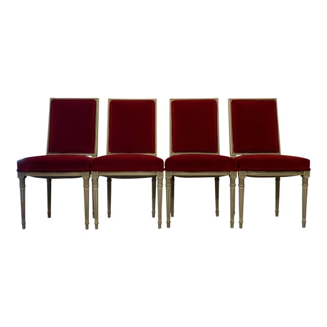 Louis XVI Style Dining Chairs Set of 4 For Sale