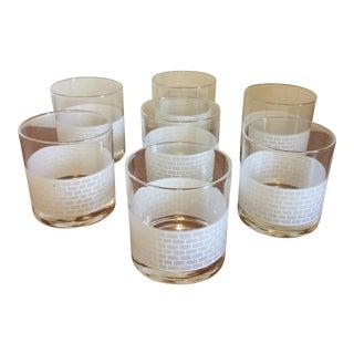 White Brick Rocks Glasses - Set of 7