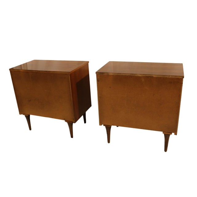 Mid-Century Walnut Chest Nightstands- A Pair - Image 5 of 10