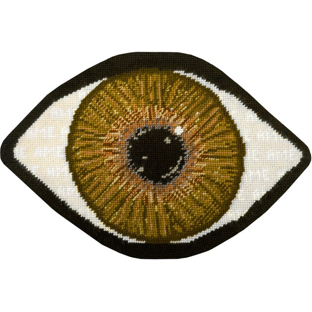 Textile Custom Made Brown Eye Sculpted Pillow For Sale - Image 7 of 11