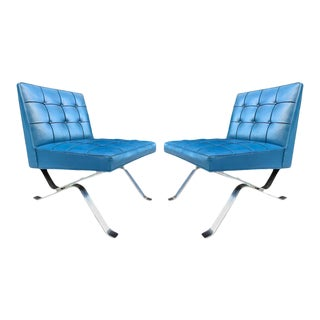 Pair of Robert Haussmann Chrome Flat Bar Lounge Chairs For Sale
