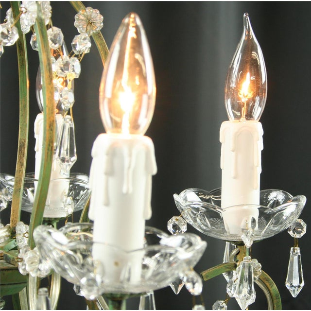 Rococo 5-Arm Glass Chandelier For Sale In Columbia, SC - Image 6 of 8