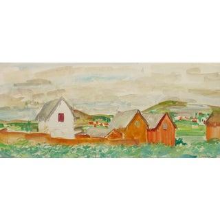 Stephane Magnard, Vintage French Watercolor Landscape - Rural Outskirts For Sale