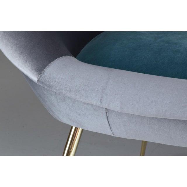 Metal Italian Midcentury Velvet Sofa Set by ISA Bergamo, 1950s For Sale - Image 7 of 13