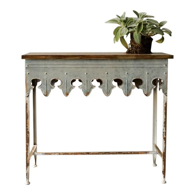 "Classic French style Metal Scalloped Edge Table with Wood Top, Zinc Finish Width: 36"" Depth: 16"" Height: 31-3/4"""