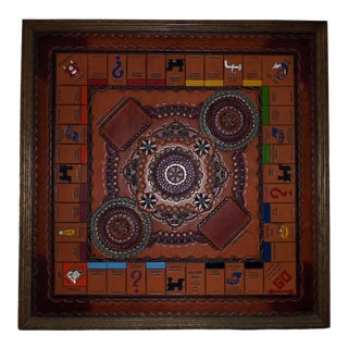 Vintage Monopoly Game Board Leather & Wood Hand-Painted For Sale