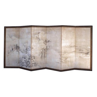 Early 19th Century Chic Large Japanese Landscape Screen For Sale