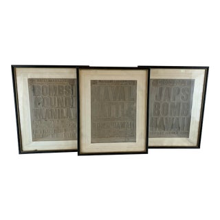 1940s Vintage WWII Pacific Newspaper Relief Prints - Set of 3 For Sale