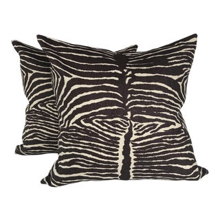 Brunschwig & Fils Le Zebre Linen Pillow Covers - a Pair For Sale