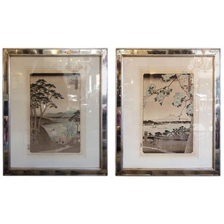 Asian Framed Prints From Trowbridge - a Pair For Sale
