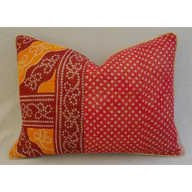 Boho-Chic Kantha Textile & Velvet Down Pillow - Image 5 of 5