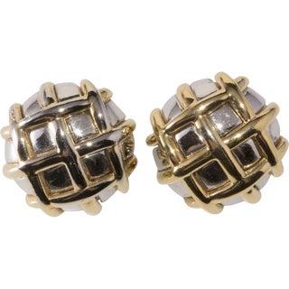 Ciner 1980s Vintage Basket Weave Button Earrings Bi-Color Silver & Gold Clip On For Sale