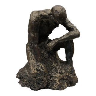 Original Figure Sculpture With Bronze Like Finish For Sale