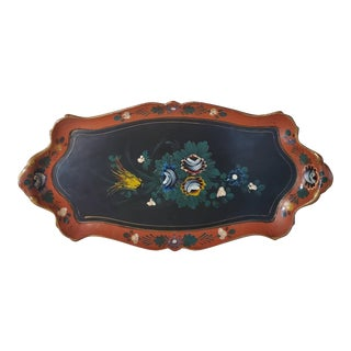 Vintage Japanese Hand Painted Floral Serving Tray For Sale