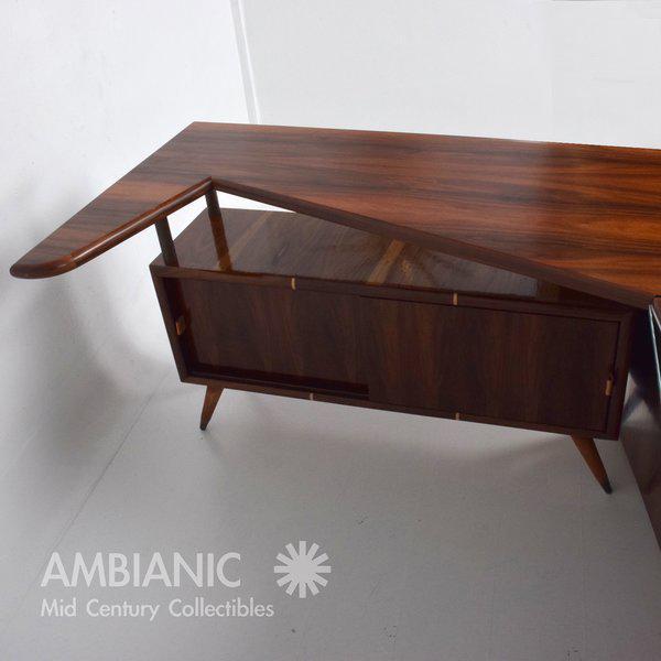 Metal Modernist Rosewood Desk with Mendoza Hardware For Sale - Image 7 of 10