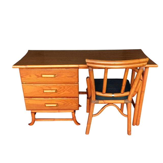 Vintage Rattan Desk and Chair For Sale