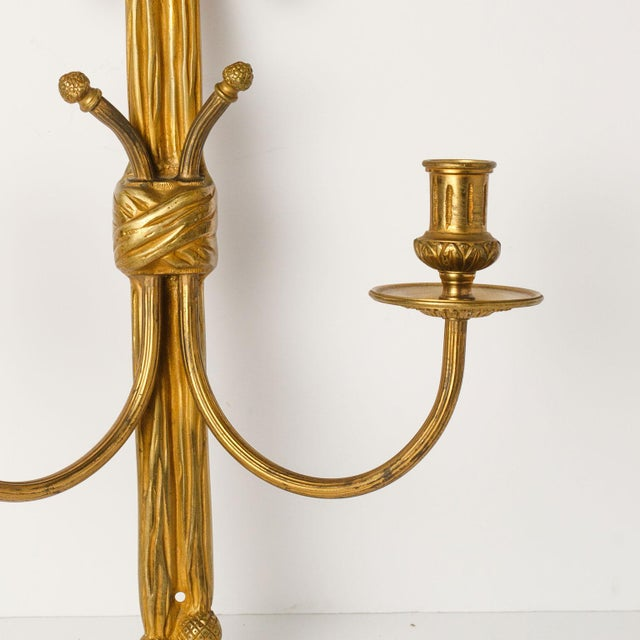 Pair of Gilt Bronze Rope Sconces For Sale In Houston - Image 6 of 8