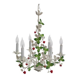 Mid-20th Century Italian Tole Berry Chandelier For Sale