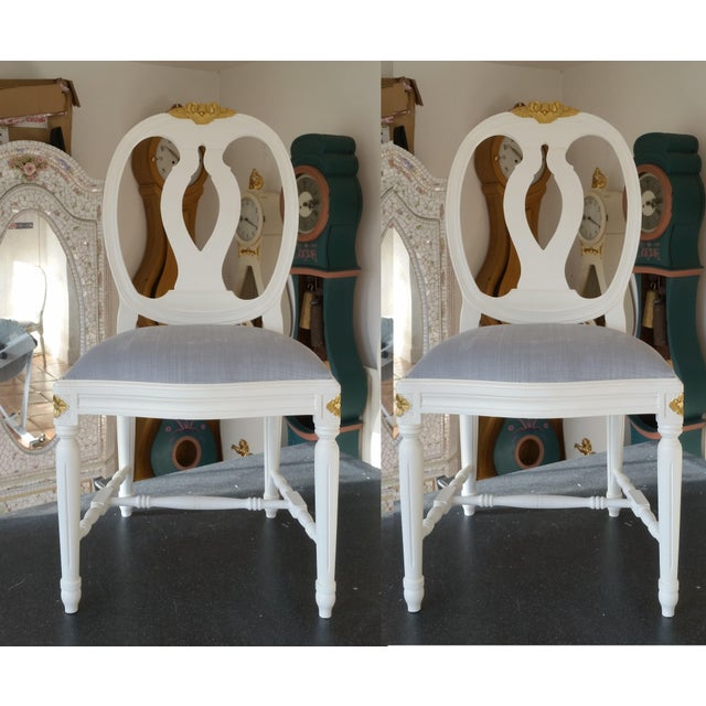 Carved Rose Gustavian Chairs With Gold - Pair For Sale In Greensboro - Image 6 of 11