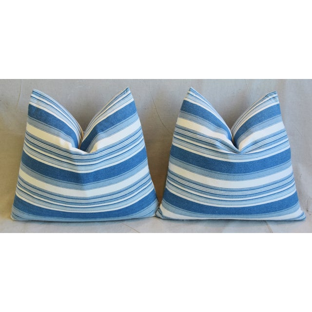 """French Blue & White Nautical Stripe Feather/Down Pillows 20"""" X 18"""" - Pair For Sale - Image 10 of 13"""