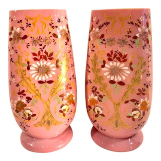 Hand Painted Continental Bristol Pink on White Glass Vase - a Pair For Sale