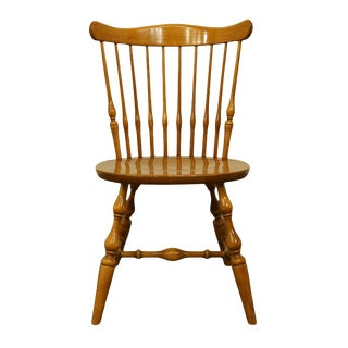 20th Century British Colonial Ethan Allen Heirloom Nutmeg Maple Governor Bradford Side Chair For Sale