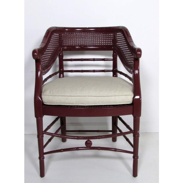 Faux Bamboo & Cane Lacquered Club Chair - Image 8 of 8