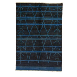 "Moroccan Hand Knotted Black & Blue Wool Area Rug - 6'3"" X 9'1"" For Sale"