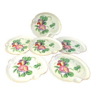 Vintage Stoneware Hand-Painted Floral Snack Plates - Set of 6