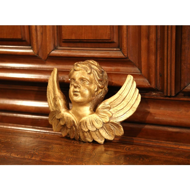 Mid 19th Century 19th Century French Carved Giltwood Wall Hanging Cherub With Wings Sculpture For Sale - Image 5 of 9