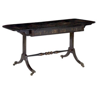 19th Century English Regency Chinoiserie Decorated Antique Sofa Table