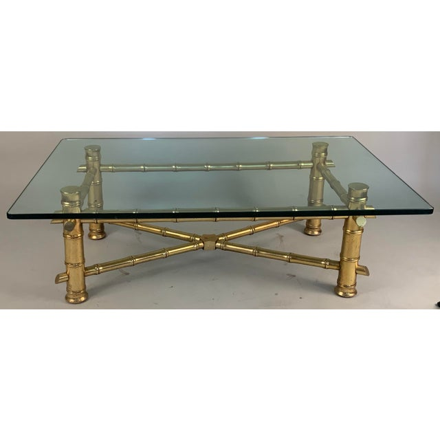 1960s Vintage 1960s Gilded Bamboo and Glass Coffee Table For Sale - Image 5 of 5