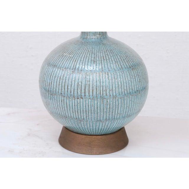 Vintage Blue Ceramic Lamp For Sale - Image 4 of 7