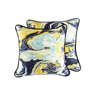 "20"" X 20"" Robert Allen Medici Down Pillows With Velvet Piping For Sale"