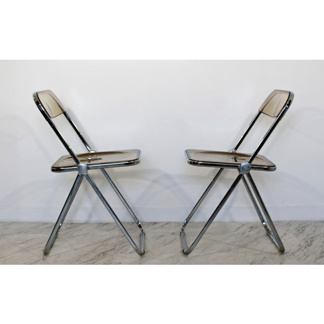 Castelli 1960s Castelli Mid Century Modern Smoked Lucite Folding Chairs Italy - Set of 10 For Sale - Image 4 of 12