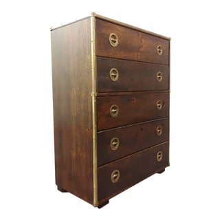 Campaign Chest With Brass Trim by Bassett Furniture For Sale