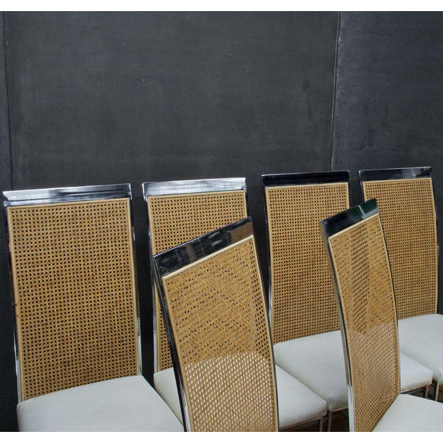 Thayer Coggin Six 1970s Milo Baughman High Back Cane Chrome Dining Chairs Postmodern Vintage For Sale - Image 4 of 11