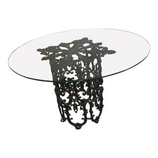 Vintage Cast Iron & Glass Top Table For Sale