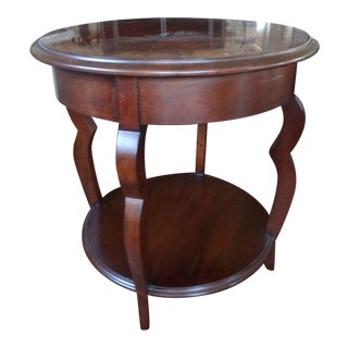 Frennch Country Round Sherrill Occasional Merlot Side Table For Sale