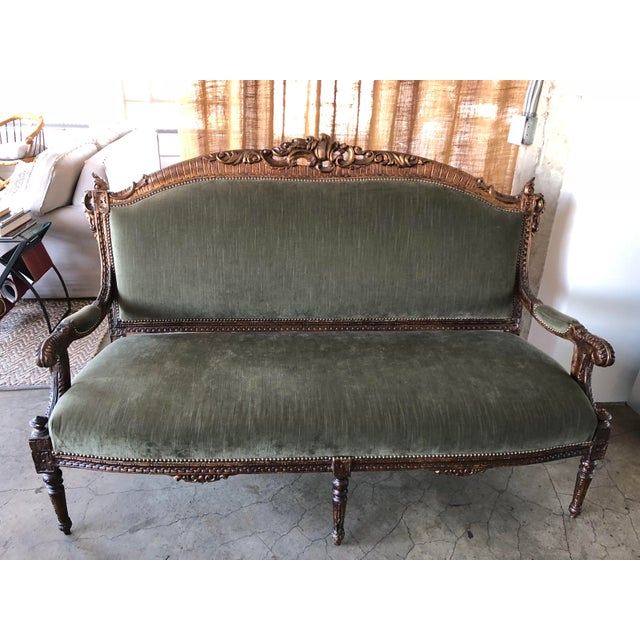 Giltwood Sage Green Strie Velvet Louis XV Settee For Sale - Image 7 of 8