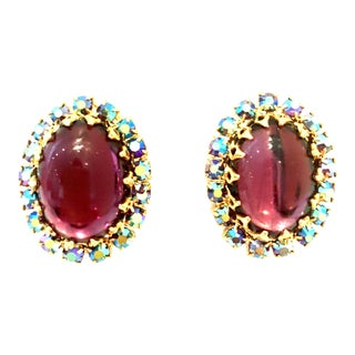 20th Century Gold, Molded Glass & Austrian Crystal Earrings - a Pair For Sale