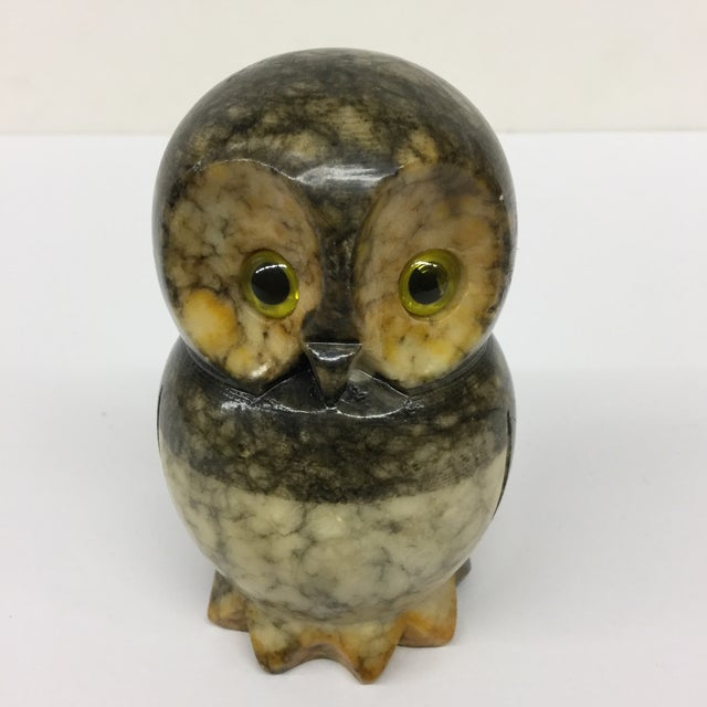 Mid-Century Modern Hand Carved Alabaster Owl For Sale - Image 3 of 9