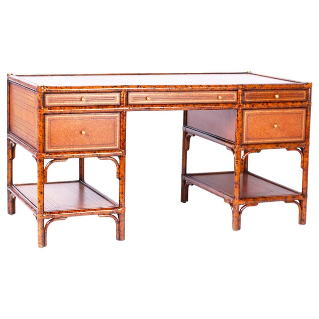 Midcentury Faux Tortoise Leather Topped Desk by Maitland-Smith For Sale - Image 10 of 10
