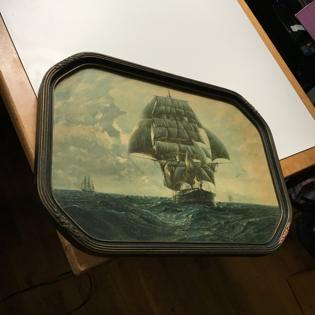 Antique Framed Ship Print For Sale In New York - Image 6 of 11