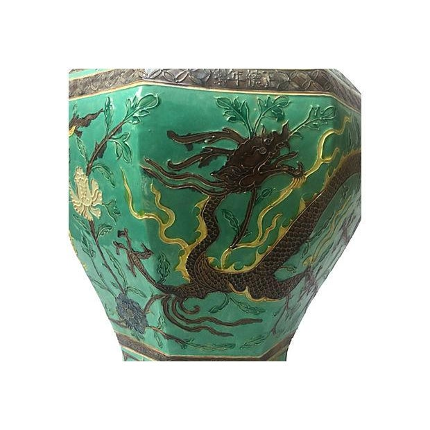 Green Hand-Painted Dragon Porcelain Vase For Sale - Image 4 of 7