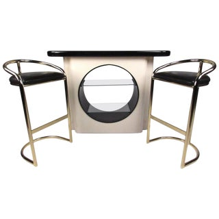 Modern Deco Dry Bar & Stools- Set of 3 For Sale